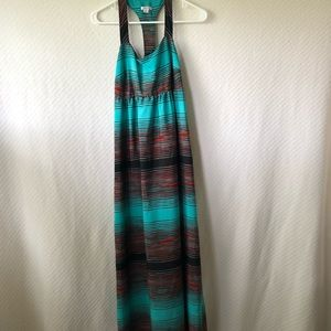 Xhilaration Polyester Turquoise Maxi Dress Sz M
